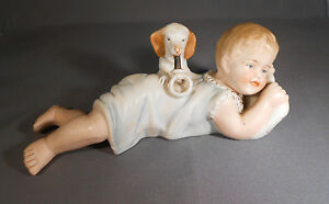 Vintage Bisque Piano Baby With Dog Made In Germany Great Color