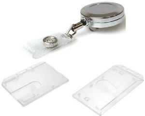 Retractable Id Card Badge Reel Chrome Metal Retractable Enclosed Card Holder