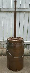 Antique Brown Alkaline Glaze 5 Gallon Butter Cream Churn W Lid