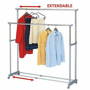 Heavy Duty Storage Double Adjustable Garment Rack Hanger Clothing Rolling Strong
