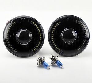 7 Round Semi Sealed H4 Black Led Projector Glass Headlights Conversion W Bulbs