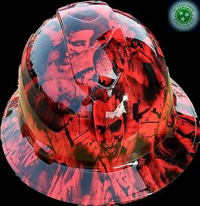 Full Brim Hard Hat Custom Hydro Dipped New Red Sinister Joker Wicked Hot New