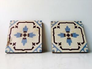 Pair Antique Provencal French Encaustic Floor Tiles 19th Century Unique Cement