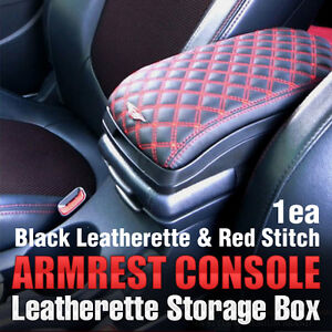 Armrest Console Storage Box Leatherette Red For Hyundai 2002 08 Tiburon Tuscani