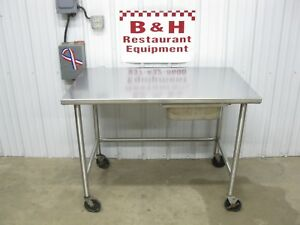 48 X 30 Stainless Heavy Duty Roll Under Work Table W Drawer Casters 4