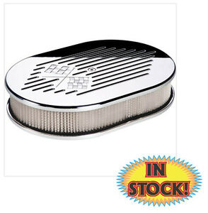 Billet Specialties 15327 Checkered Flag Oval Air Cleaner Small Polished