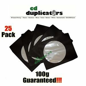 25 Black Cd Dvd Paper Sleeves 100g Premium Quality W Window Flap