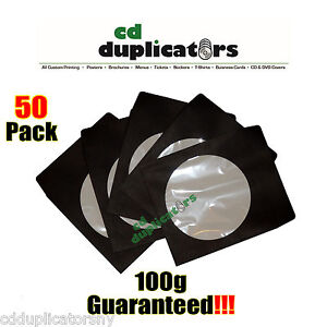 50 Black Cd Dvd Paper Sleeves 100g Premium Quality W Window Flap