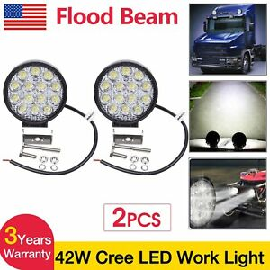 2pcs 42w Flood Cree Led Work Light Offroad Driving Lamp Truck Suv Atv Boat 12v