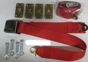Bright Red Seat Belt 2 Point Red Lap Seat Belts 2 With Retrofit Mtg Kit 74