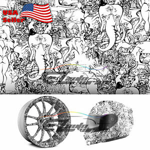 19 x38 Hydrographic Film Hydro Dipping Water Transfer Black White Graffiti 11