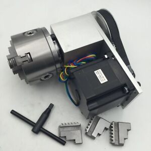 Rotary Axis 4th Axis Router Dividing Head 3 Jaw 100mm Chuck Nema34 Stepper Motor