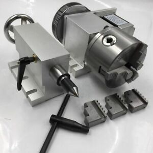 Cnc Rotary 4th A Axis 6 1 Hollow Shaft Nema23 Motor 3 Jaw 100mm Chuck Tailstock
