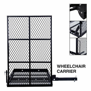 Foldable Electric Wheelchair Hitch Carrier W Internal Spring Loaded Pull Locks
