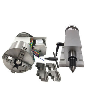 New Rotary Axis 4th Axis Dividing Head 4 Jaw 100mm Lathe Chuck Motor tailstock 5