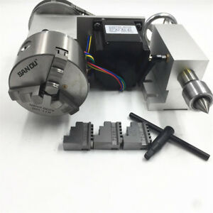 Rotary Axis 4th Axis 3 Jaw 100mm Lathe Chuck Nema34 Stepper Motor Tailstock 6