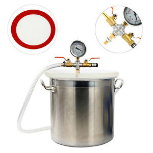 5 Gallon Stainless Steel Vacuum Degassing Chamber Urethane Silicone Extracting W