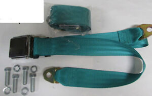 Chrome Lift Non Retractable Lap Turquoise Seat Belts 2 With Mounting Kit 60