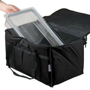 Insulated Black 23 X 13 X 15 Nylon Hot Cold Food Carrier Bag
