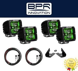 Rigid Radiance Pod Green Fog Light Kit Harness For Chevy 1500 2500 3500