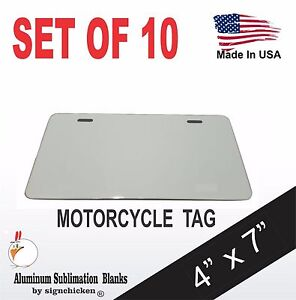 10 Pieces Aluminum License Plate Sublimation Blanks 4 x 7 Motorcycle Tag