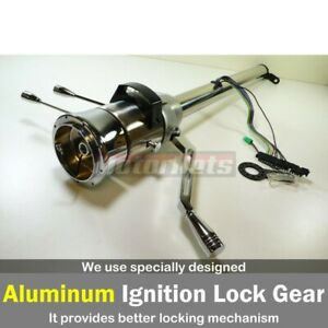 32 Raw Stainless Tilt Steering Column Shift Automatic No Ignition Key Streetrod