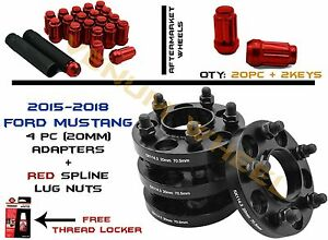 2015 Ford Mustang Hub Centric Wheel Spacers W 20pc Red Lug Nuts 14x1 5 2 Keys