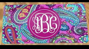 Monogram Initials Paisley License Plate New Car Tag Personalized