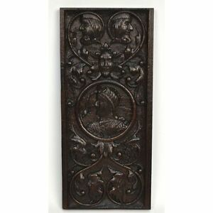 Antique 17th C English Carved Oak Renaissance Panel Of Nobleman And Figures