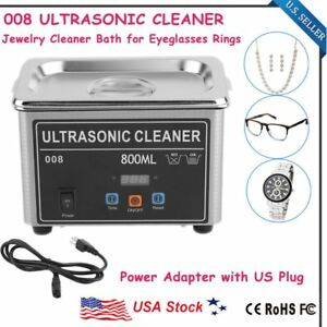 Stainless Steel Industry Lab Ultrasonic Jewelry Glasses Cleaner 800ml W timer Mx