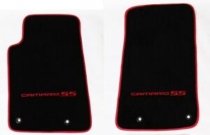 New Black Floor Mats 2010 2015 Camaro Embroidered Logo Ss Red Front Binding