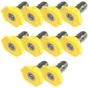 Yellow Qc Pressure Washer Nozzle 10pk 1504 15 Degrees Size 04