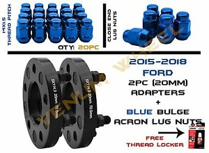 Pair Of 2015 Ford Mustang 20mm 20 Blue Bulge Acorn Lug Nuts 14x1 5