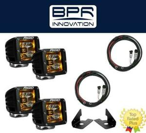 Rigid Radiance Pod Amber Fog Light Kit Harness Chevy Silverado 2500 3500