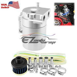 Silver Aluminum Engine Oil Catch Reservoir Breather Tank Can Cylinder Filter 3