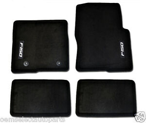 Oem New 2015 2020 Ford F 150 Super Cab Carpet Floor Mats Black Embroidered Logo