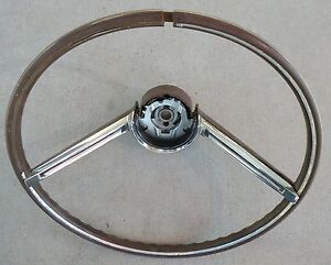 Ford Thunderbird Woodgrain Steering Wheel Chrome Trim Oem 1964 64