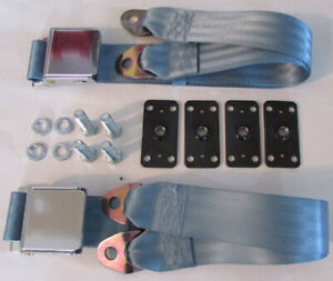 Light Blue Seatbelt Non Retractable Lap Seat Belts 2 With Retrofit Mtg Kit 60
