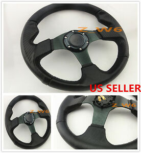 Black Pvc 3d Carbon Fiber Look 6 Bolt Jdm Drift Steering Wheel W Horn Button