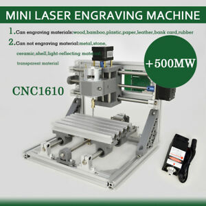 3 Axis Router Mini Wood Carving Machine Cnc1610 Pcb Milling 500mw Laser Head