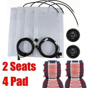 2 Seats Universal Car Carbon Fiber Heated Seat Heater Kit High low Switch 12v