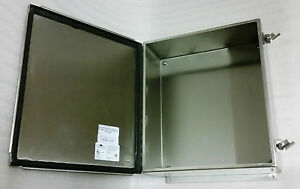 14 X 12 X 8 Industrial Jic Wall Mount Enclosure Nema 4x 304 Stainless Steel