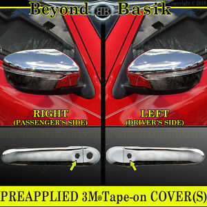 For 2015 2017 Nissan Juke Chrome Door Handle Covers w Smart Key mirror Covers