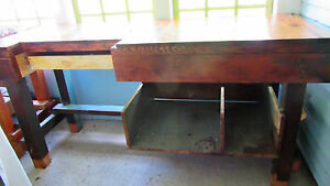 1900s Workbench Industrial Work Bench Work Table Wood Standing Desk