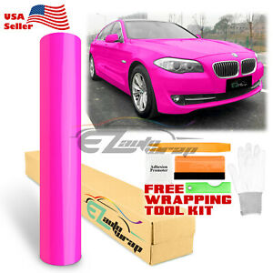 gloss Fluorescent Neon Pink Car Vinyl Wrap Sticker Decal Bubble Free Film Diy