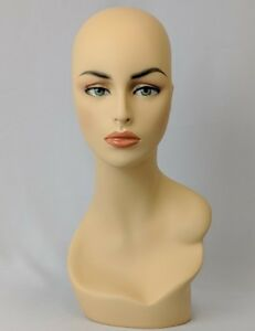 Mn 174 Female Fleshtone Mannequin Head Form W Pierced Ears Hand Painted Makeup