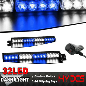 34 32 Led Warning Emergency Hazard Beacon Visor Dash Strobe Light Bar Blue White