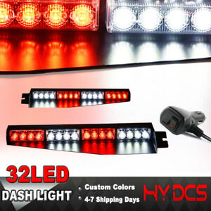 34 32 Led Police Light Bar Emergency Warning Visor Mount Dash Strobe Red White
