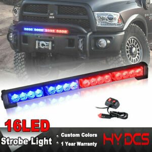 16 Led Emergency Warning Light Bar Traffic Advisor Strobe Flash Lamp Red