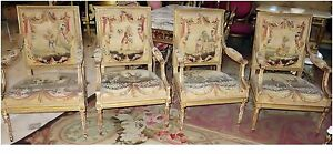 French Antique Aubusson 4 Chairs Matching Sofa C 1800 S W Swag Drapes Children
